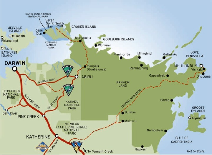 Map of Kakadu National Park - credit Parks Australia.